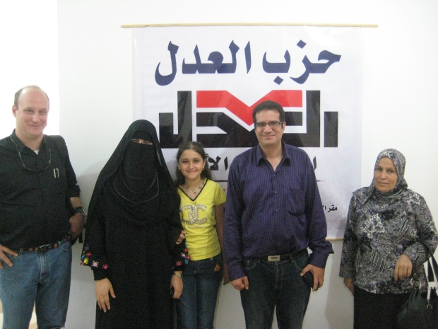 With leaders of Egypt's Justice Party at their headquarters in Ismailiya, 2011.