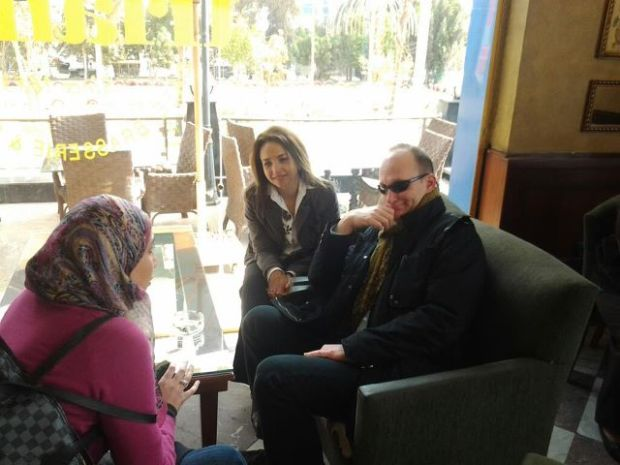 Pre-trial coffee session with my colleagues Nada Maher and Rasha Kamel.